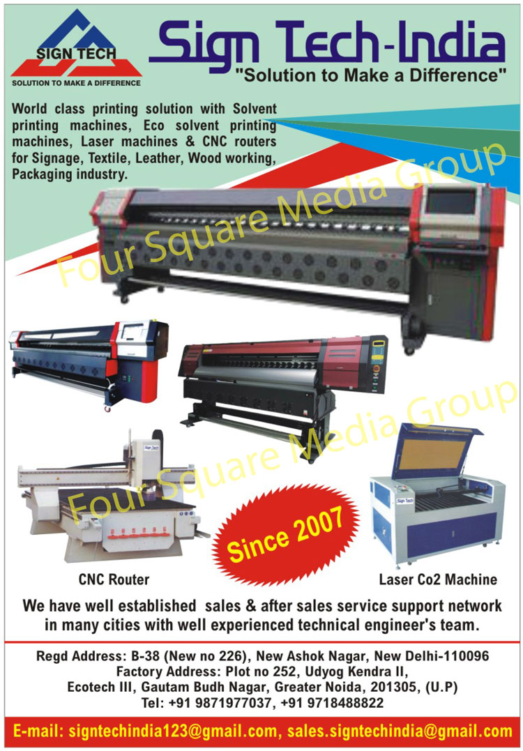 Laser Printing Machines, Laser CO2 Printing Machines, Solvent Printing Machines, Eco Solvent Printing Machines, CNC Router, CNC Router For Signage Industry, CNC Router For Textile Industry, CNC Router For Leather Industry, CNC Router For Wood Working Industry, CNC Router For Packaging Industry