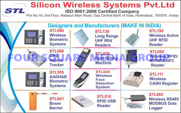 Wireless Biometric Systems, Long Range UHF Rfid Readers, Wireless Active UHF RFID Readers, GPS Vehicle Trackers, Spot Billing Machines, Wireless RFID Readers, Wireless MIFARE Readers, Wireless NFC Readers, Aadhar Biometric Systems, Wireless Face Detection Systems, Wireless Cash Registers, Boom Barriers, RFID USB Readers, Wireless RS485 MODBUS Data Loggers, RS485 MODBUS Wireless Data Loggers, RFID Wireless Readers, MIFARE Wireless Readers, NFC Wireless Readers, Road Safety Products