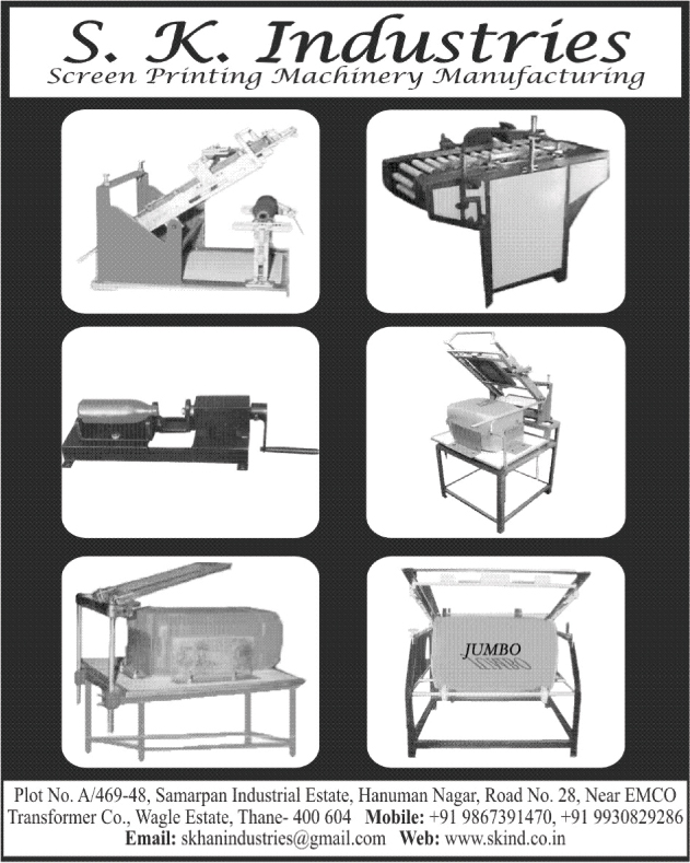 Screen Printing Machines,Screen Printing Table, Flame Treatment Auto Machines, Heating Machines, Bottle Neck Cutting Machines, Deflashing Machines