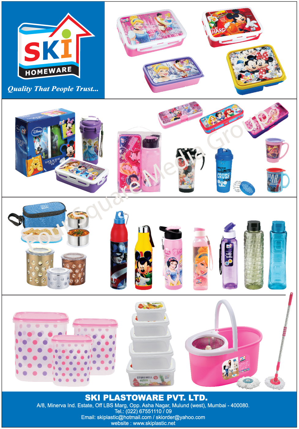 Insulated Bottles, Sipper Water Bottles, Lunch Boxes, Pencil Boxes, Insulated Lunch Boxes, Vacuum Insulated Water Bottles, Storage Containers, Dustbins, Buckets