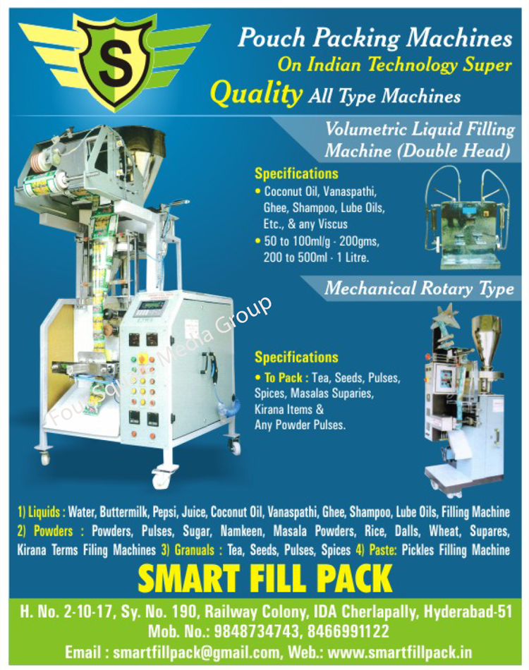 Pouch Packing Machines, Double Head Volumetric Liquid Filling Machines, Mechanical Rotary Type Liquid Filling Machines, Powder Filling Machines, Granules Filling Machines, Paste Filling Machines