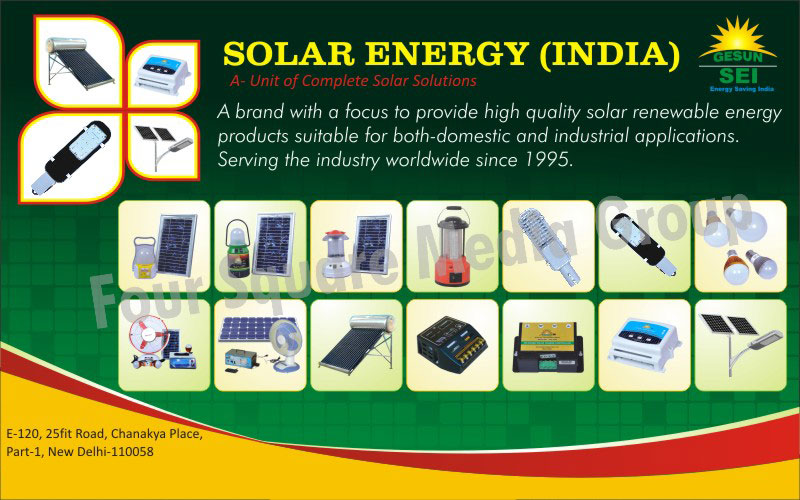 Solar Renewable Energy Products, Solar Power Plants, Solar Water Heaters, Solar Street Lights, Solar Home Light Systems, Solar Charge Controllers, Solar Led Lanterns