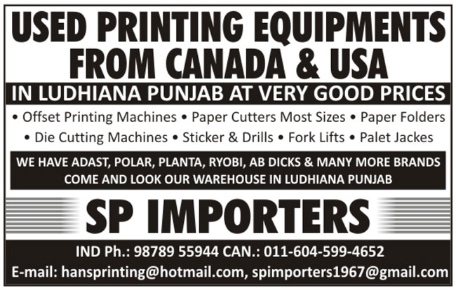 Used Printing Equipments, Second Hand Printing Equipments, Used Offset Printing Machines, Second Hand Offset Printing Machines, Used Paper Cutters, Second Hand Paper Cutters, Used Paper Folders, Second Hand Paper Folders, Used Die Cutting Machines, Second Hand Die Cutting Machines, Used Stickers, Second Hand Stickers, Used Drills, Second Hand Drills, Used Fork Lifts, Second Hand Fork Lifts, Used Palet Jackes, Second Hand Palet Jackes