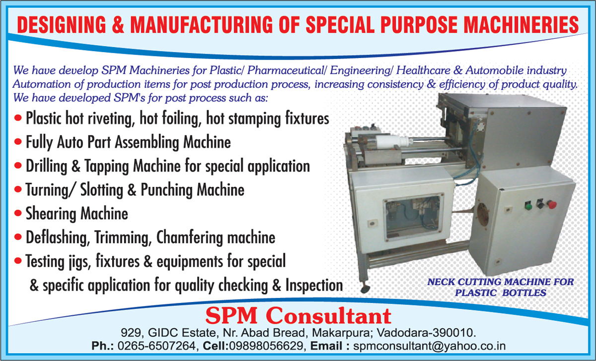 Special Purpose Machine For Automobile Industry, SPM, Auto Part Assembling Machines, Hot Stamping Fixtures, Plastic Hot Riveting, Hot Foiling, Drilling Machine Special Applications, Tapping Machine For Special Applications, Turning Machines, Slatting Machines, Punching Machines, Shearing Machines, Deflashing Machines, Trimming Machines, Chamfering Machines, Testing Jig For Quality Checking and Inspections, Testing Fixture For Quality Checking and Inspections, Testing Equipment For Quality Checking and Inspections, Special Purpose Machine For Healthcare Industry, Special Purpose Machine For Plastic Industry, Special Purpose Machine For Pharmaceutical Industry, Special Purpose Machine For Engineering Industry, Neck Cutting Machine For Plastic Bottles, Special Purpose Machine For Automotive Industry,Neck Cutting Machines