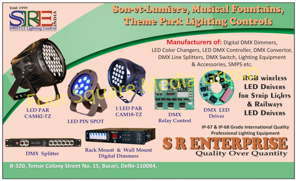 Led Pin Spot, Led Par, Relay Control, Led Drivers, Wall Mount Dimmer, Rack Mount Digital Dimmer, DMX Splitter, Digital DMX Dimmers, Led Color Changers, Led DMX Controllers, DMX Converter, DMX Line Splitters, DMX Switches, Light Equipments, Light Accessories, SMPS, Switch Mode Power Supply, DMX Relay Controls, DMX Led Drivers, Led Colour Changers, Theater Lights, Musical Fountain Lights, Theme Park Lights, Profession Lighting Equipments, Dimmable Led Drivers, Sonet Lumiere