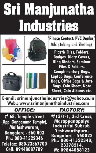 Plastic Files, Plastic Folders, Diary Covers, Ring Binders, Seminar Files, Seminal Folders, Complimentary Bags, Laptop Bags, Conference Bags, Office Bags, Jute Bags, Coin Sheets, Note Sheets, Con Albums