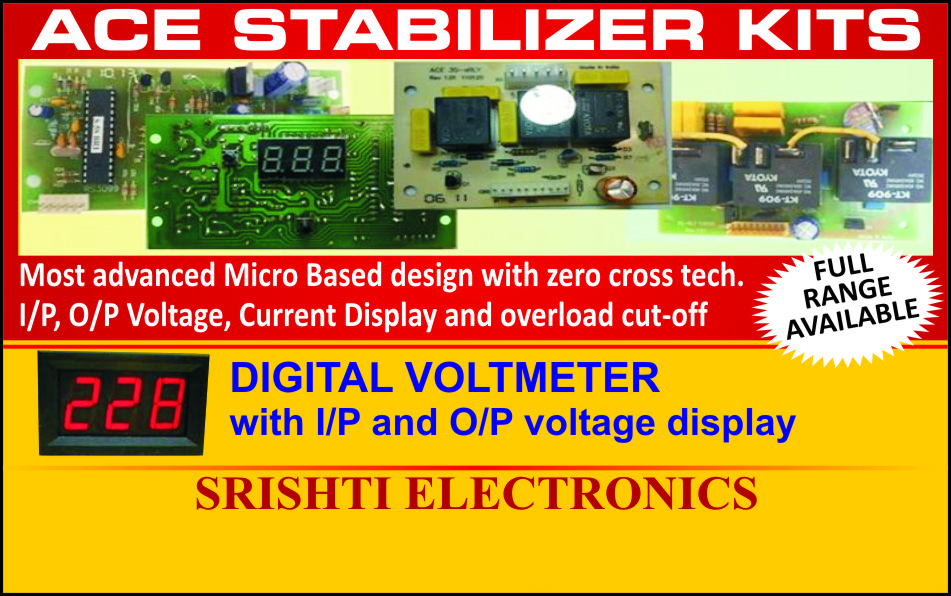 ACE Stabilizer Kits, Digital Volt Meters, Current Displays, Overload Cut off, Home UPS, Micro Controller Based Home UPS, Micro Controller Based, Inverter Kits, Micro controller Based Home UPS, UPS, Stabilizer, UPS PCB, UPS Kits, Stabilizer Kits, Digital Voltmeter
