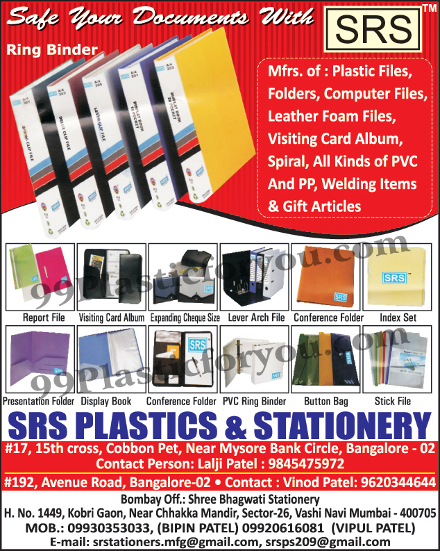 Plastic Files, Plastic Folders, Computer Files, Leather Foam Files, Visiting Card Albums, Spiral Sheets, PVC Ring Binder, Report Files, Expanding Cheque Size File, Lever Arch File, Conference Folders, Index Set, Presentation Folders, Display Books, Button Bags, Stick Files, Gift Articles, PVC Welding Items, PP Welding Items,Expanding Cheque Size, Spiral, PVC, PP, Welding Items,