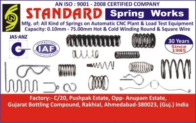 Springs,Load Test Equipments, Winding Equipments, Cold Winding Square Wire, Hot Winding Square Wire