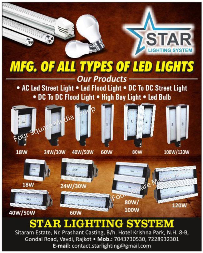 Led Lights, AC Led Street Lights, Led Flood Lights, DC to DC Street Lights, DC to DC Flood Lights, High Bay Lights, Led Bulbs