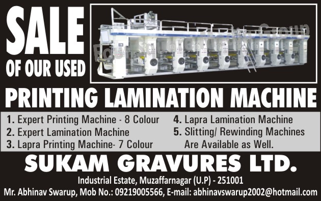 Expert 8 Color Used Printing Machines, EXPERT 8 Colour Second Hand Printing Machines, 7 Colour Used Printing Machines, 7 Colour Second Hand Printing Machines, Used Lamination Machines, Second Hand Lamination Machines, Used Slitting Machines, Second Hand Slitting Machines, Used Rewinding Machines, Second Hand Rewinding Machines, Used Printing Lamination Machines, Second Hand Printing Lamination Machines