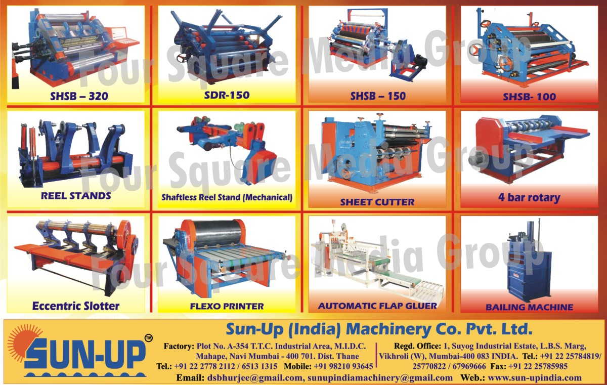 Mechanical Shaftless Reel Stand, Sheet Cutter Machine, Four Bar Rotary Machine, Eccentric Slotter, Flexo Printer, Automatic Flap Gluer, Bailing Machine,Reel Stands, Sheet Cutters, Shaftless Reel Stand, Flap Gluer, Bailing Machines