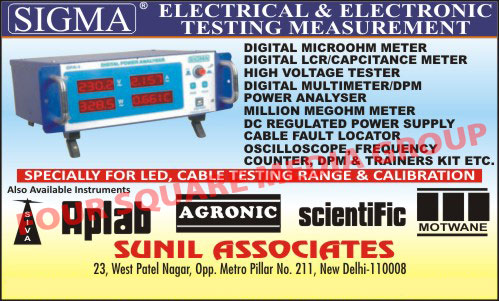 Electrical Testing Instruments, Electronic Testing Instruments, Digital Micro ohm Meters, Digital LCR Meters, Digital Capacitance Meters, Digital Micro ohm Meters, High Voltage Testers, Digital Multimeter, Power Analyser, million Megohm Meters, DC Regulated power Supply, Cable Fault Locator, Oscilloscope, Frequency Counters, Trainer Kits, DPM, Digital Panel Meters, Digital Lux Meters, Insulation Testers, Digital Storage Scope