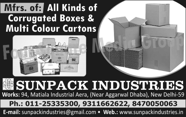 Corrugated Boxes, Multi Colour Cartons, Cartons