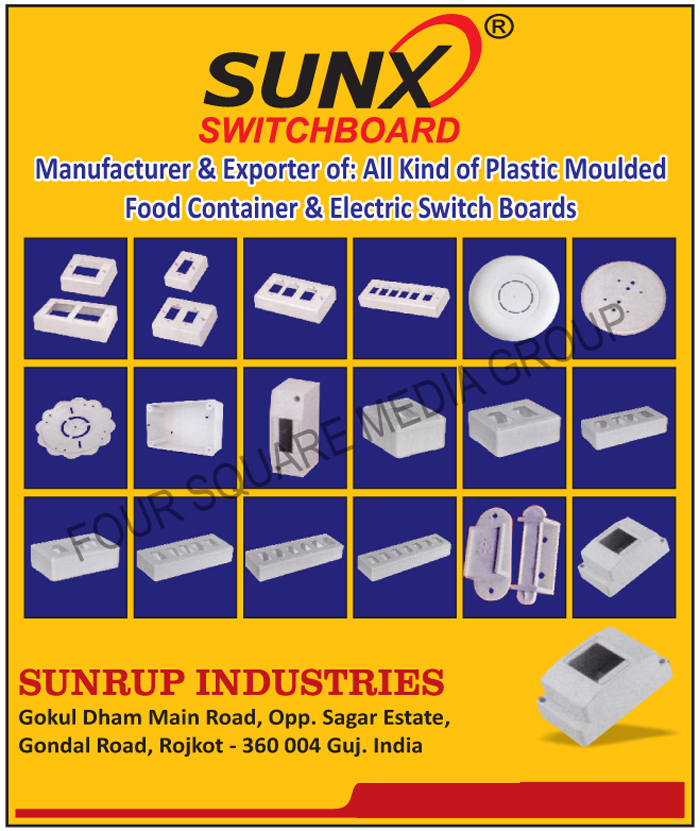 Plastic Moulded Food Containers, Electric Switch Boards