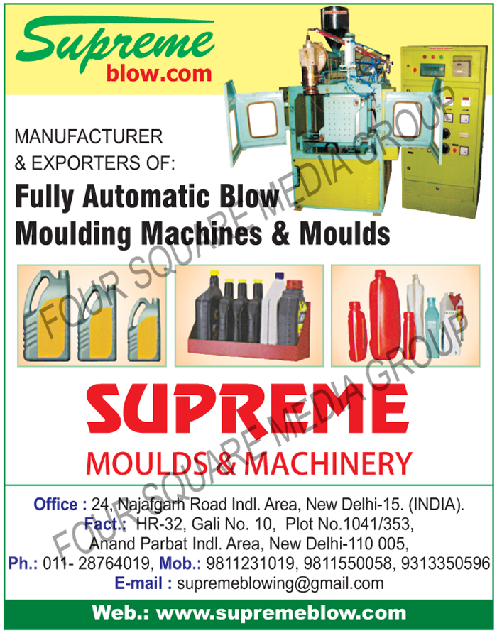 Blow Moulding Machines, Moulds