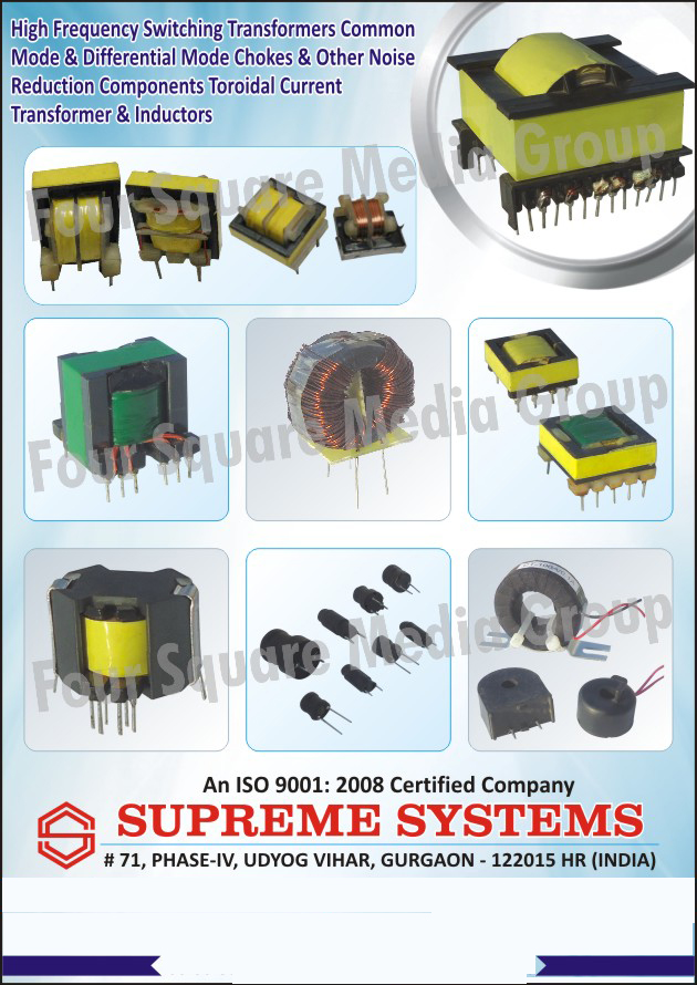 Common Mode High Frequency Switching Transformers, Differential Mode Chokes, Noise Reduction Components, Toroidal Current Transformers, Inductors