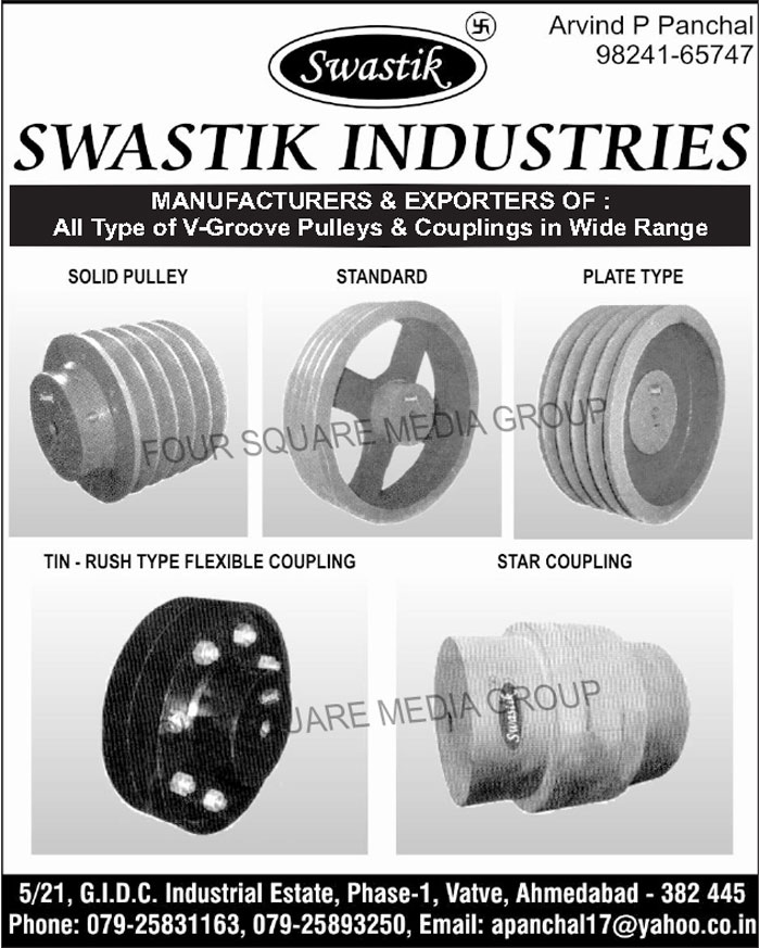 V Groove Pulleys, V Groove Couplings, Star Couplings, TIN Rush Type Flexible Couplings, Solid Pulleys, Plate Type Pulleys