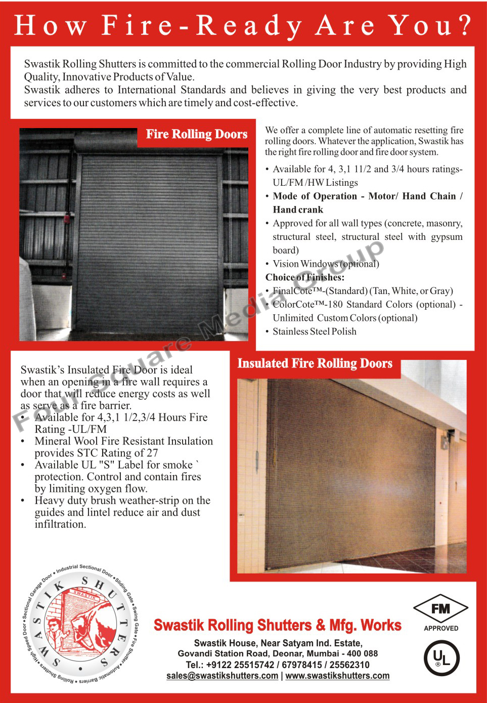 Fire Rolling Doors, Insulated Fire Rolling Doors, Fire Door Systems