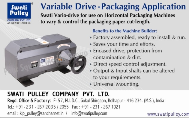 Vario Drive Horizontal Packaging Machines, Pulleys