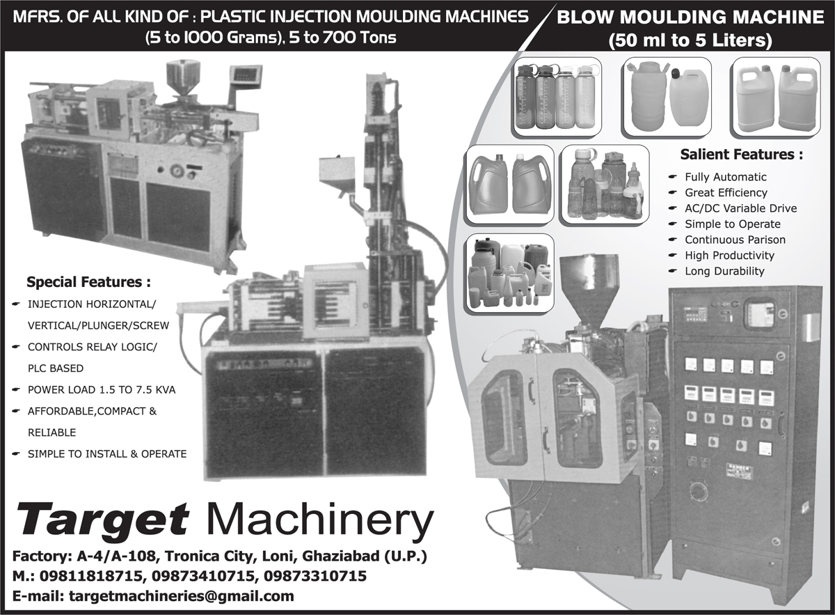 Plastic Injection Moulding Machines, Blow Moulding Machines