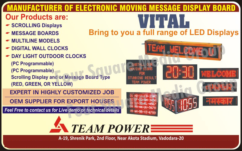 Electronic Moving Message Display Boards, Scrolling Displays, Electronic Message Boards, Digital Wall Clocks, Daylight Outdoor Clocks, Led Display Boards