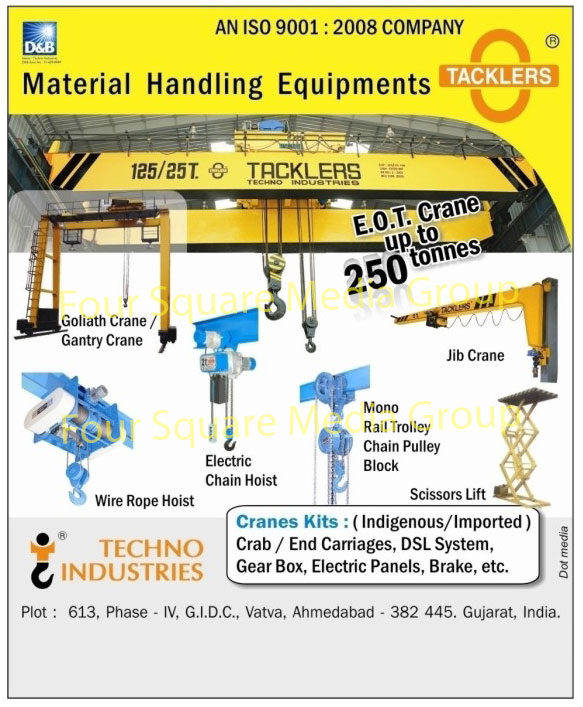 Material Handling Equipments, Gantry Cranes, Goliath Cranes, Electric Chain Hoists, Jib Cranes, Mono Rail Trolley, Chain Pulley Blocks, Scissors Lifts, Wire Rope Hoists, Gantry Cranes, Crane Kits, Crane Gear Boxes, Crane Brakes, Crane DSL Systems, Crane End Carriages, Crane Crab Carriages, Construction Equipments, Mini Hoists, Suspended Platforms, Tower Cranes, EOT Hot Cranes, Construction Elevators, Crane Kits, Crab Carriages, End Carriages, Crane kit DSL systems, Crane Gear Boxes, Crane Electric Panels, Crane Brakes ,Automotive Trolleys, Heavy Duty Trolley, Motorized Trolleys, trolley, EOT Cranes
