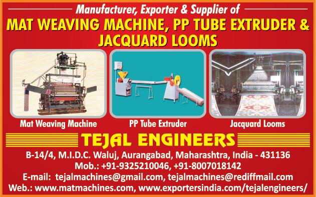 Mat Weaving Machines, PP Tube Extruder, Jacquard Looms