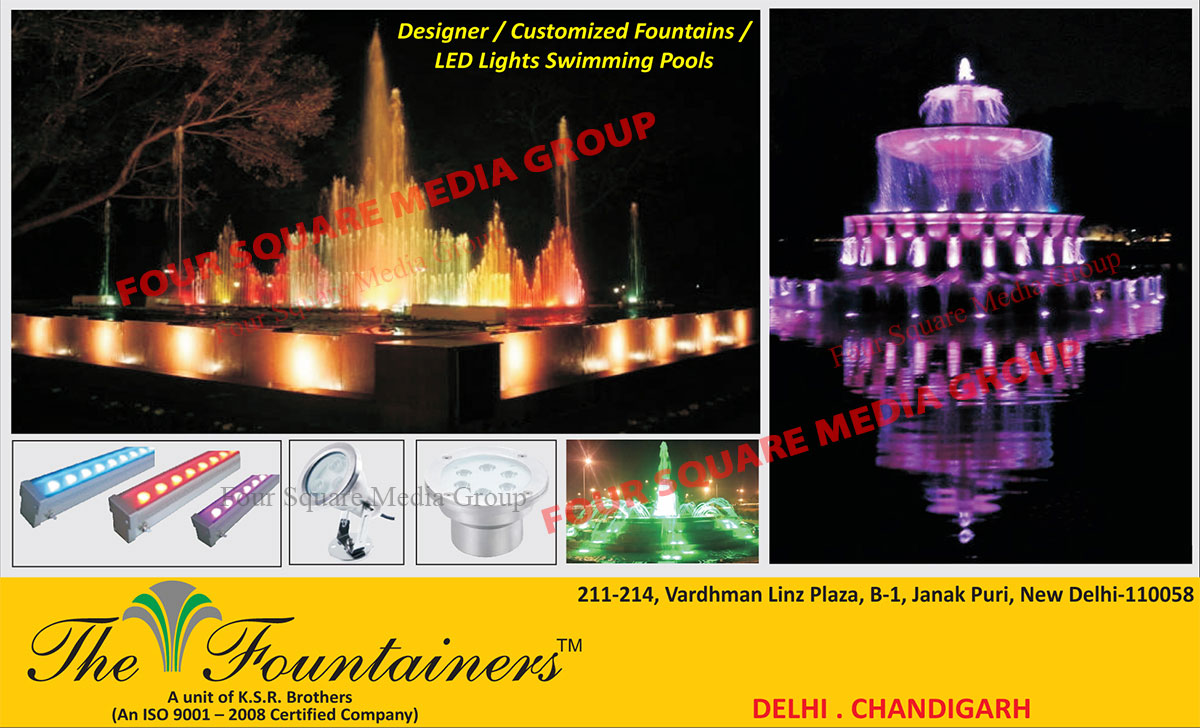 Designer Fountains, Customized Fountains, Customised Fountains, Swimming Pool Led Lights, Underwater Fountain Led Lights