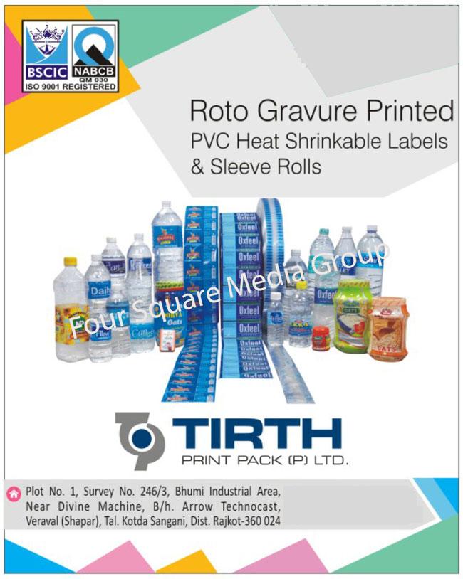 Roto Gravure Printed PVC Heat Shrinkable Labels, Sleeve Rolls, Rotogravure Printed PVC Heat Shrinkable Labels