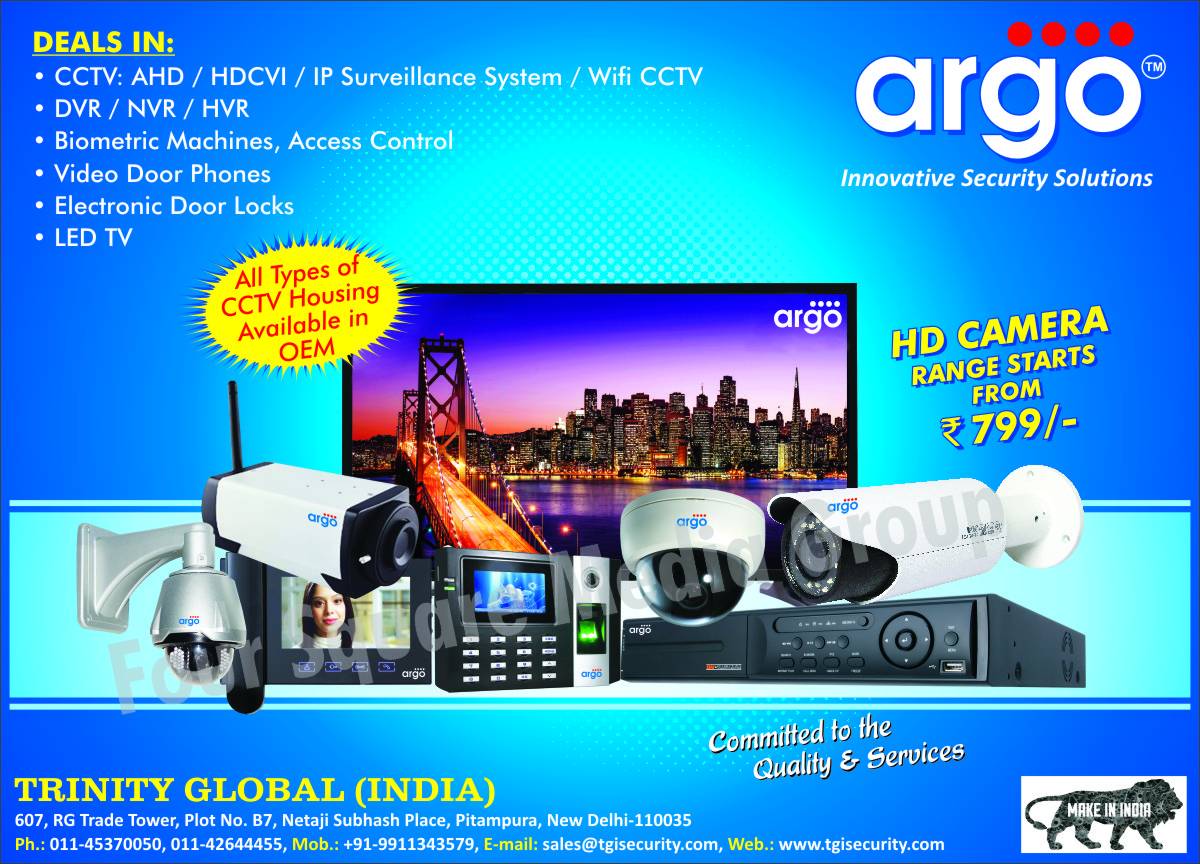 CCTV Cameras, IP Surveillance Systems, Wifi CCTV, DVR, Digital Video Recorder, NVR, HVR, Biometric Machines, Access Controls, Video Door Phones, Electronic Door Locks, Led TV, CCTV Housing, AHD Cameras, HDCVI Cameras