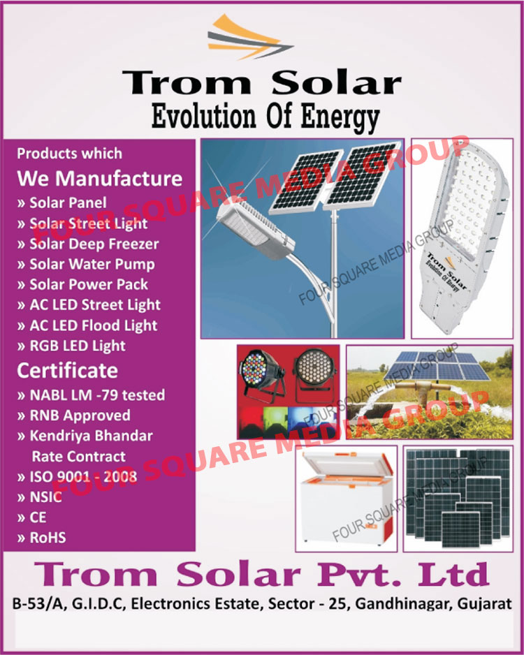 Solar Panels, Solar Street Lights, Solar Deep Freezers, Solar Water Pumps, Solar Power Packs, AC Led Street Lights, AC Led Flood Lights, RGB Led Lights