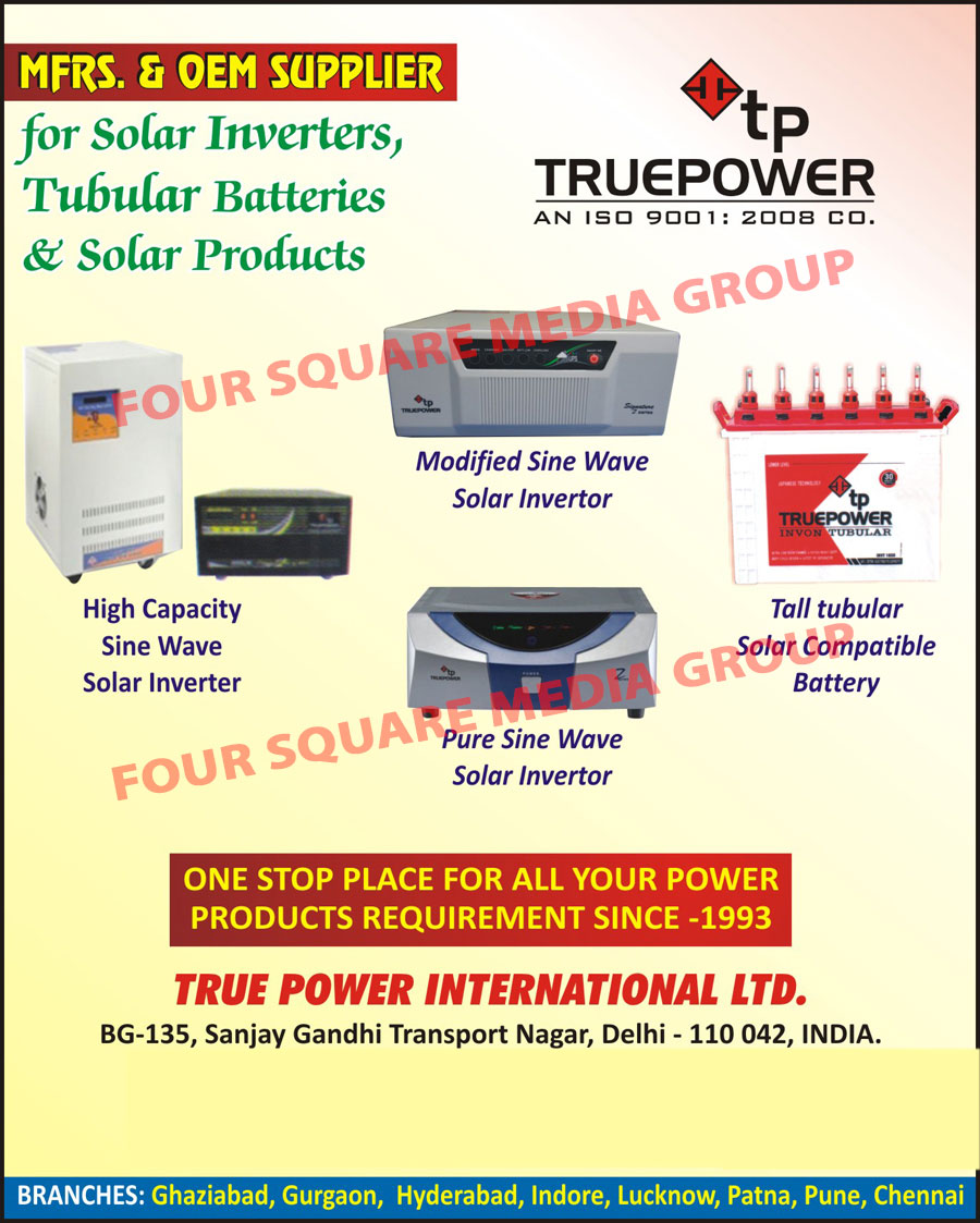 Solar Inverters, Tubular Batteries, Solar Products, Modified Sine Wave Solar Inverters, Tall Tubular Solar Compatible Batteries, Pure Sine Wave Solar Inverters, Sine Wave Solar Inverters,Batteries, Inverters