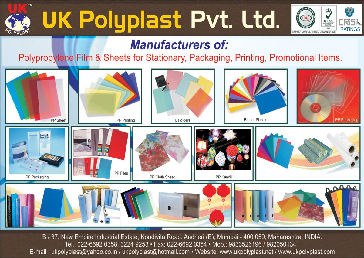 Polypropylene Films, Polypropylene Sheets, PP Packagings, PP Files, PP Cloth Sheets, PP Kandil, Binder Sheets, L Folders, PP Printings, PP Sheets