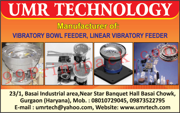 Vibratory Bowl Feeders, Linear Vibratory Feeders, Used Offset Printing Machines, Used Binding Machines