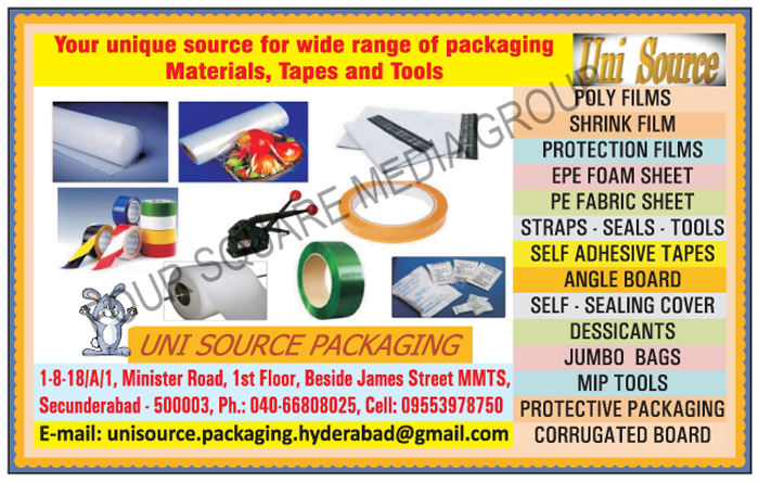 Packaging Materials, Tapes, Strapping Tools, Poly Films, Shrink Films, Protection Films, EPE Foam Sheets, PE Fabric Sheets, Straps, Seals, Self Adhesive Tapes, Angle Boards, Self Sealing Covers, Dessicants, Jumbo Bags, MIP Tools, Protective Packagings, Corrugated Boards