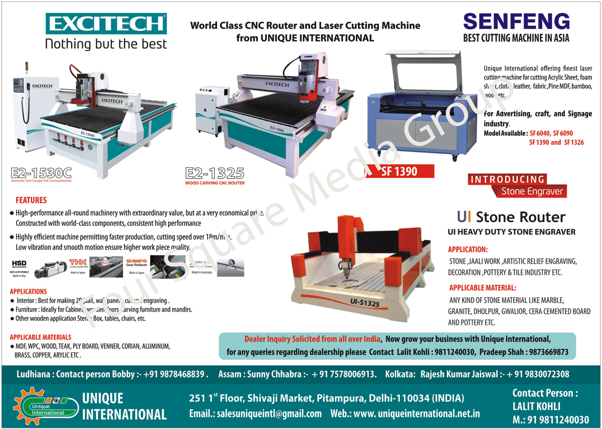 CNC Router Machines, Laser Cutting Machines, Wood Carving CNC Routers, Automatic Tool Changer CNC Carving Machines, Stone Engraver