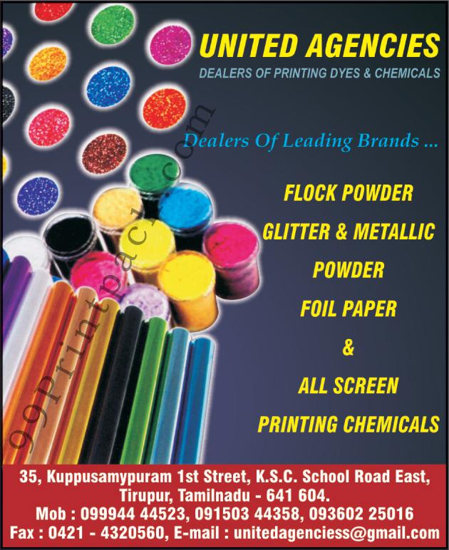 Printing Chemicals, Flock Powder, Glitter Powder, Metallic Powder, Printing Dyes, Printing, Glitter Powder, Metallic Powder, Foil Paper