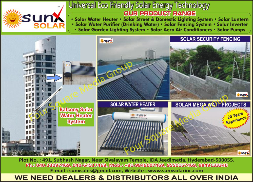 Solar Water Heaters, Solar Mega Watt Projects, Solar Security Fencing, Balcony Solar Water Heater Systems, Solar Street Lighting Systems, Solar Lanterns, Solar Water Purifier, Solar Fencing Systems, Solar Inverter, Solar Garden Lighting Systems, Solar Aero Air Conditioners, Solar Pumps, Solar Domestic Lighting Systems