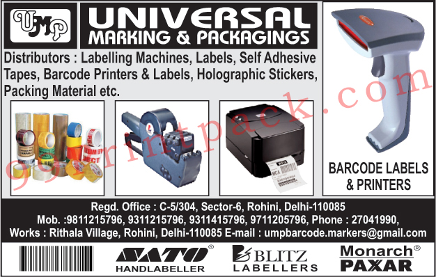 Labelling Machines, Labels, Self Adhesive Tapes, Barcode Printers, Barcode Labels, Holographic Stickers, Packing Materials,Marking, Adhesives Tapes, Labelling Machines, Tapes, Labels