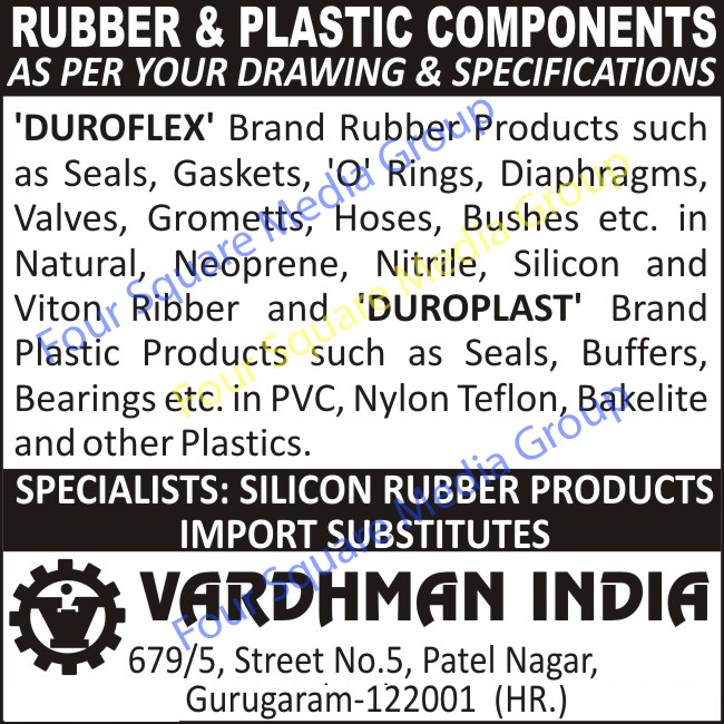 Rubber Components, Plastic Components, Seals, Gaskets, O Rings, Diaphragms, Valves, Grometts, Hoses, Bushes, Buffers, Bearings, Silicon Rubber Products