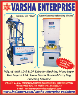 HM Extruder Machines, LLDP Extruder Machines, LD Extruder Machines, Mono Layer Punching Machines, Screw Bearer Grooved Carry Bags, Carry Bag Punching Machines, Two Layer ABA HM Extruder Machines, Two Layer LD Extruder Machines, Two Layer LLDP Extruder Machines, Mono Layer HM Extruder Machines, Mono Layer LD Extruder Machines, Mono Layer LLDP Extruder Machines,LLDPE Extruder Machines, Mono Layers, Punching Machines, Screw Bearer Carry Bags, Extruder Machines, Blown Film Plants