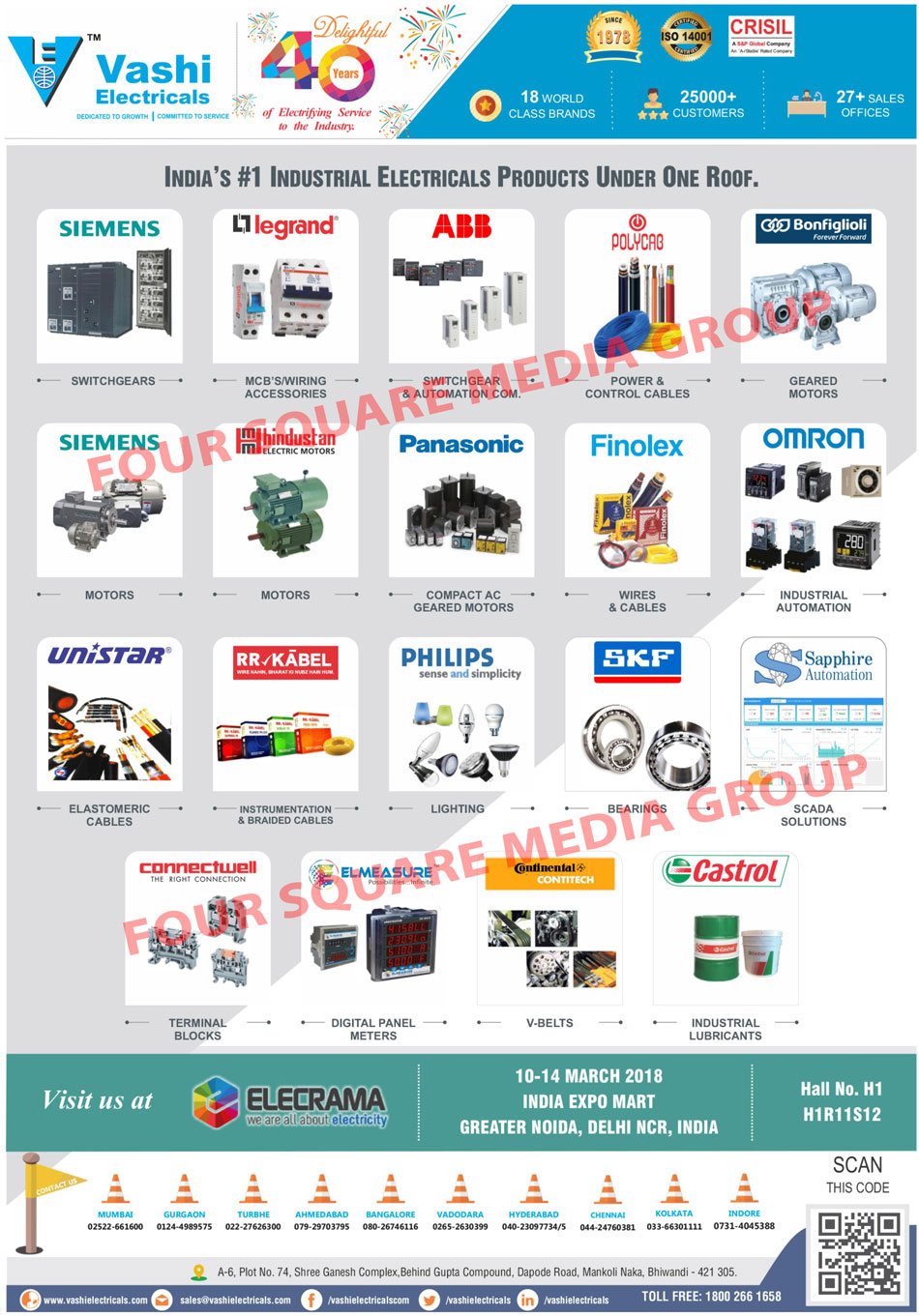 Switchgear, Geared Motors, MCBs, Wiring Accessories, Electric Motors, Active Harmonic Filters, Elastomeric Cables, Industrial Lubricants, Power Tools, Compact Ac Geared Motors, Lighting, Terminal Blocks, Wires, Cables, Fuses, Compact Modular Fuses, Photovoltaic Fuses, Low Voltage Fuses, Medium Voltage Fuses, Ammeters, Voltmeters, VAF Meters, Load Managers, Energy Meters, Dual Source Energy Meters, Generator Monitoring Units, Data Loggers, High Profile Power Analysers, Intelligent Earth Leakage Relays, IELR, Intelligent Power Factor Controllers, IPFC, Industrial Lights, High Bay Lights, Well Glass Lights, Bulk Head Lights, Outdoor Lights, Flood Lights, Street Lights, Post Top Lights, Bollards, Master Led Spot MV, Solar Power Solutions, Solar Street Lights, Solar Water Heaters, Solar Thermal Water Heaters, Solar PV System Integration, Drives, Power Cables, Control Cables, Instrumentation Cables, Braided Cables, Rolling Bearings, Digital Panel Meters, Industrial Automation