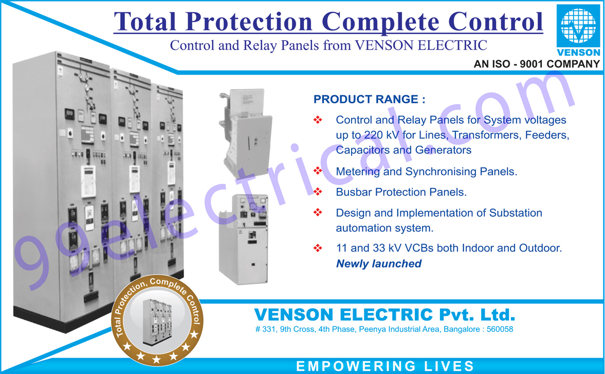 Control Panels, Relay Panels, Metering Panels, Synchronising Panels, Busbar Protection Panels, Substation Automation system Designing, Substation Automation System Implementation, Indoor VCBs, Outdoor VCBs,Electrical Panel, VCBs, Vaccum Circuit Breaker