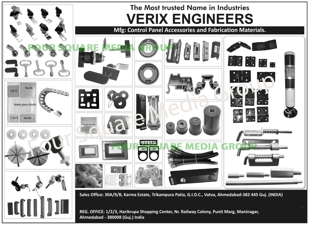 Control Panel Accessories, Lubrication Materials, PVC Ferrules, PVC Spirals, PVC Channels, PVC Soft Rubber Components, PVC Pipe Fittings, PVC Pipe Coppers, Nylon Meter Glasses, Nylon Handles, Nylon Hinges, Tie Mounts, Pocket Handles, Mab End Clamps, Term channel End Clamps, Air Ventilations, Nylon Cable Trays, Printed Circuit Board Studs, Nylon Printed Circuit Board Studs, Brass Printed Circuit Board Studs, Document Holders, DRG Pockets, Nylon Locks, Metal Locks, Printing Machine PVC Sleeves, Printing Machine Cartages, Terminal Marker PVC Snap, PB Legend Plates, Panel PVC Knob, Self Adhesive Gaskets,Panel Solutions, Air Filter, Hinges, PVT White Maker, Black Legend Plate Mail, Emergency Stop, Cable Tray, Gasket, Panel Accessories, Locks, PVC Clamp, PVC Color Ferules