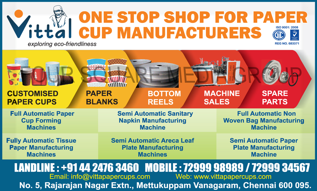 ... Non Woven Bag Manufacturing Machines Tissue Paper Manufacturing Machines Areca Leaf Plate Manufacturing Machines Paper Plate Manufacturing ...  sc 1 st  Printing Industry Magazine in India & Customized Paper Cups | Paper Blanks | Bottom Reels | Paper Cup ...