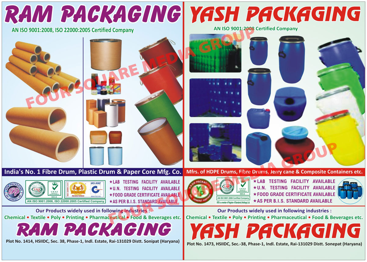 HDPE Drums, Paper Base Fibre Drums, Paper Tubes, Paper Cores, Paper Sleeves, Composite Containers, Lab Testing Facility, Jerrycanes, Jerry Canes