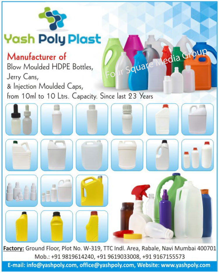 Blow Moulded HDPE Bottles, Jerry Cans, Injection Moulded Caps