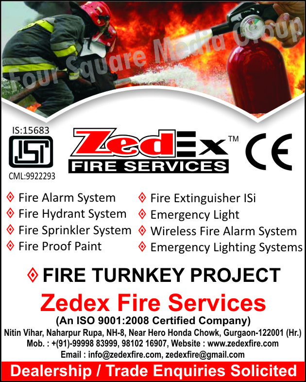 Fire Alarm Systems, Fire Extinguisher, Emergency Lights, Wireless Fire Alarm Systems, Emergency Lighting Systems, Fire Proof Paints, Fire Sprinkler Systems, Fire Hydrant Systems, Fire Turnkey Projects, Fire Safety Products