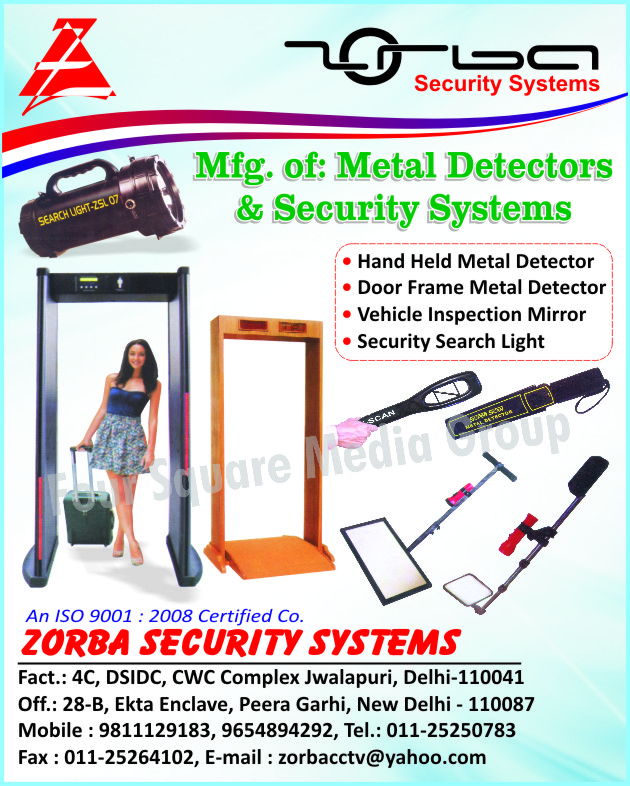 Hand Held Metal Detectors, Door Frame Metal Detectors, Vehicle Inspection Mirror, Security Search Lights